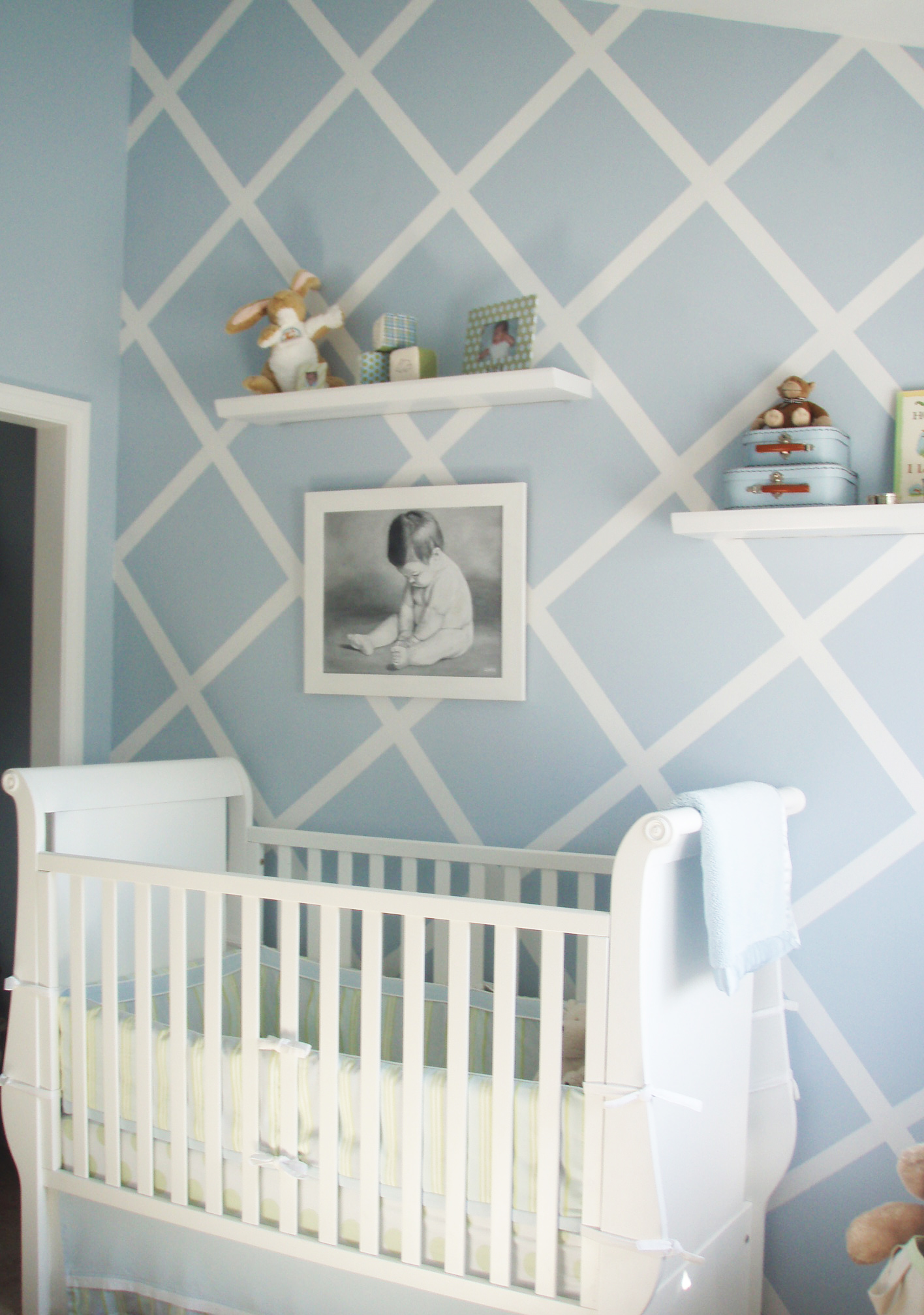 Design reveal modern baby blue project nursery for Baby room decorating ideas uk