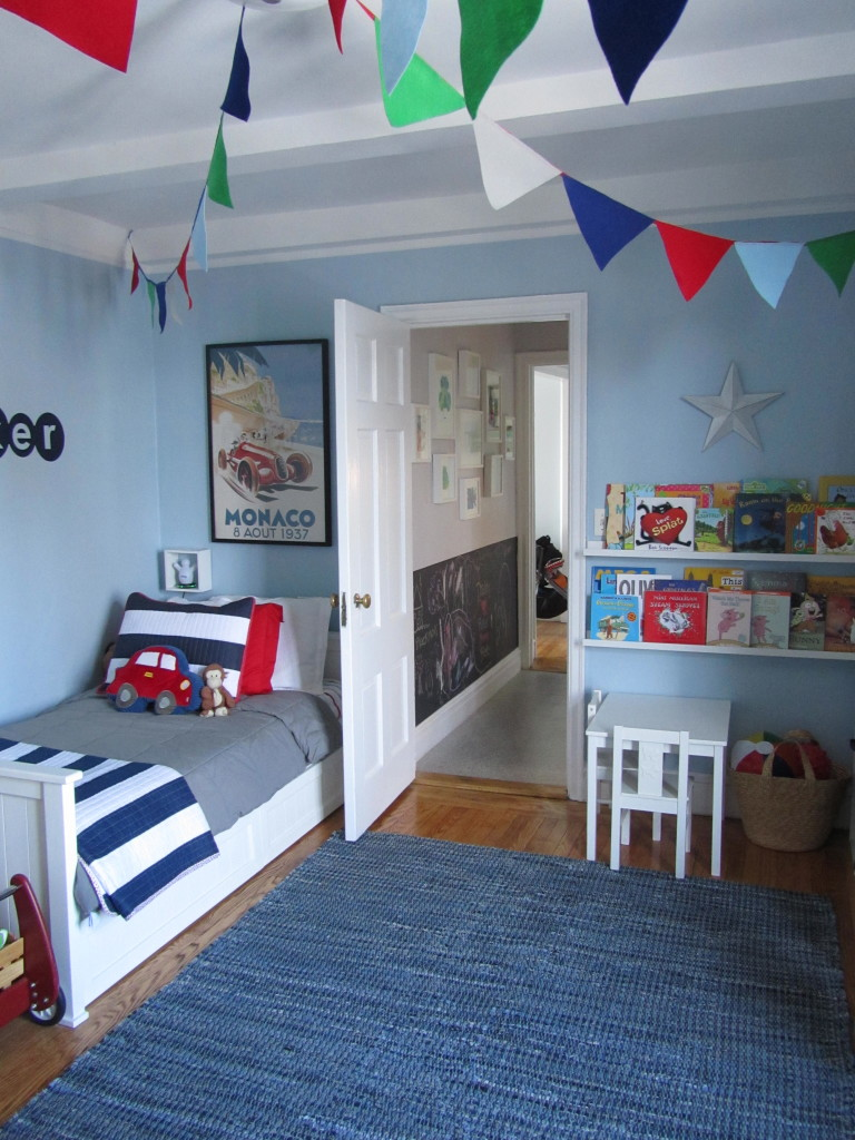Little b 39 s big boy room project nursery for Blue and white boys room