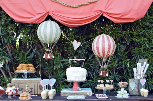 hot air balloon dessert table