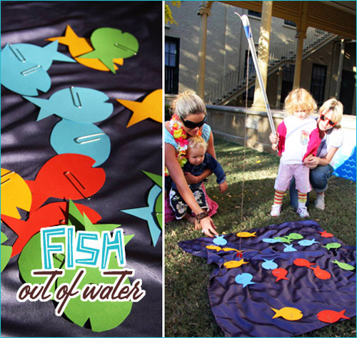 Colorful fish birthday party ideas for Fishing and game