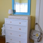 White Dresser with Blue Framed Mirror