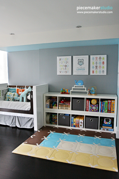 Transitional Toddler Room Blue Gray Project Nursery