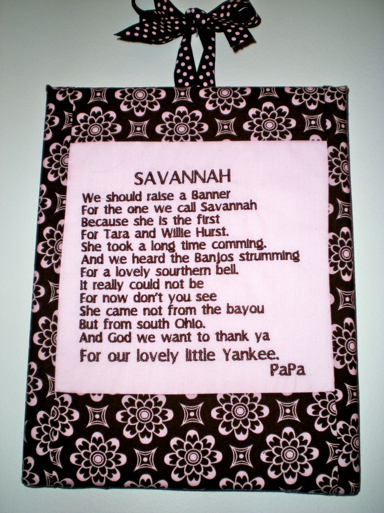 Poem written by my grandfather for Savannah