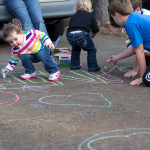 Sidewalk chalk outside