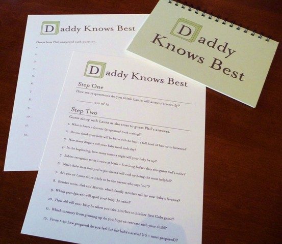 Baby Shower Game Daddy Knows Best