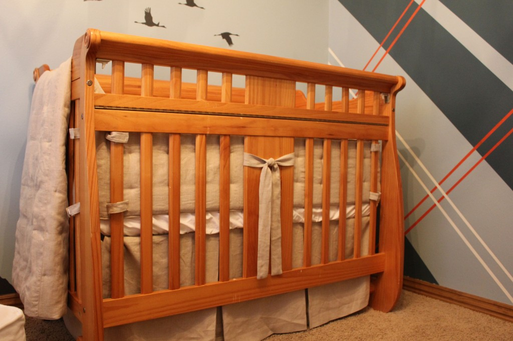 Pine Crib with Custom Linen Bedding