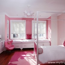 Pink and White Modern Girl's Room