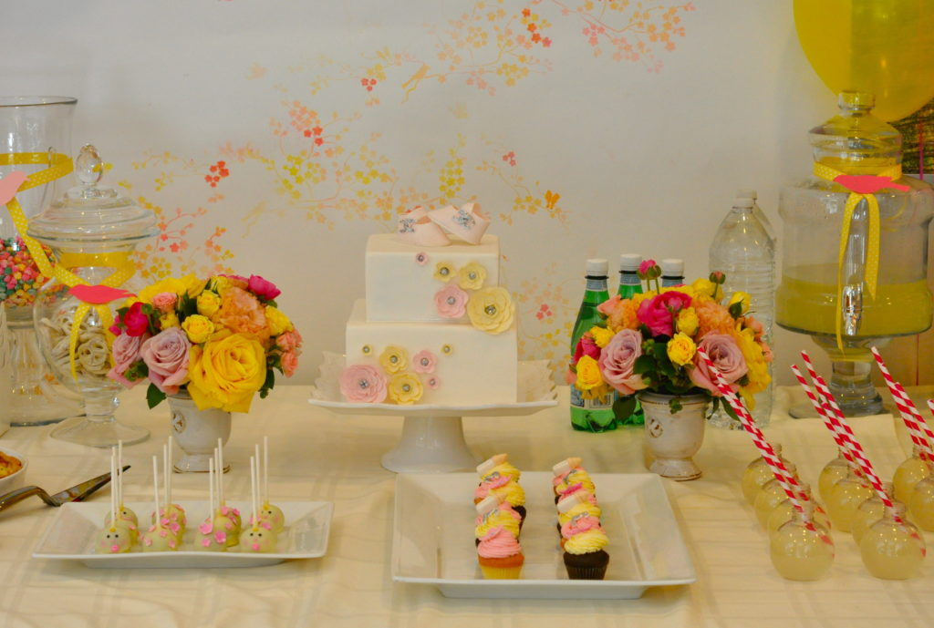 vintage girl baby shower in pink and yellow project nursery