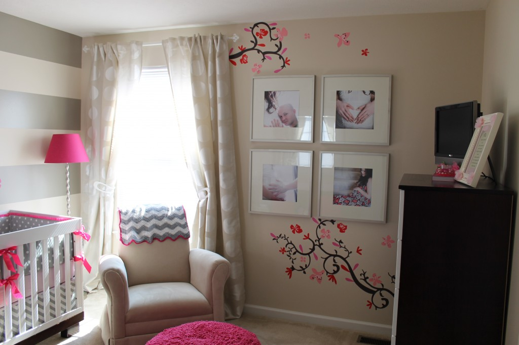 Cherry Blossom Gray Girl Nursery Cherry Blossoms