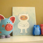 Cute pink and blue art in a nursery
