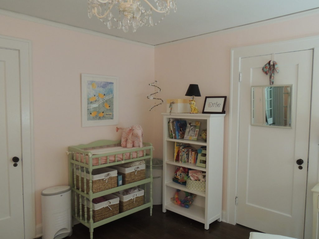 Changing table and bookcase