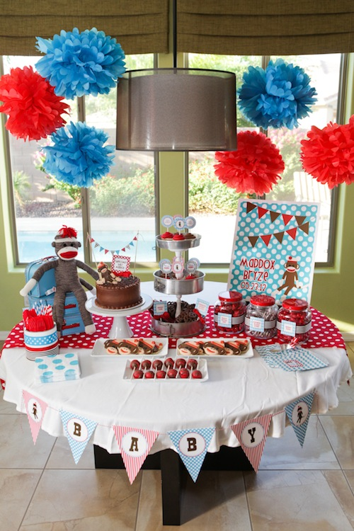 party reveal sock monkey baby shower
