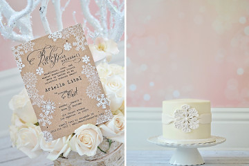 Winter Wonderland Birthday Invitation and Birthday Cake