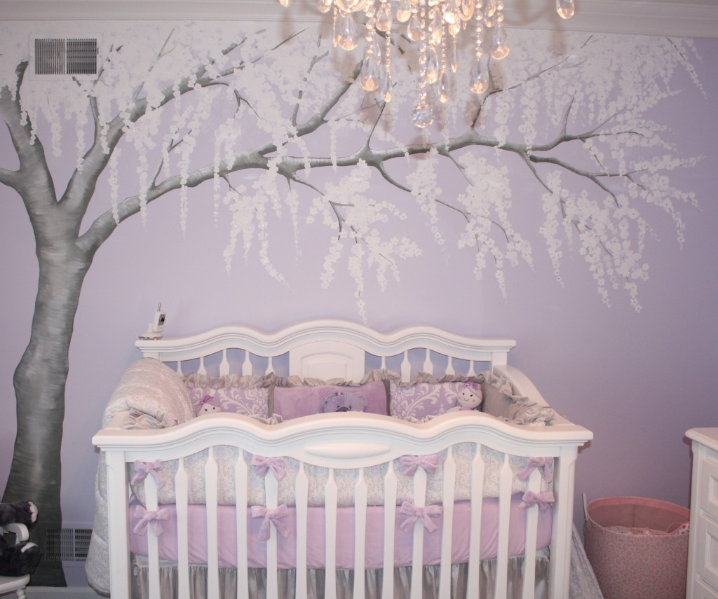 Sparkly cherry blossom nursery project nursery for Baby nursery tree mural