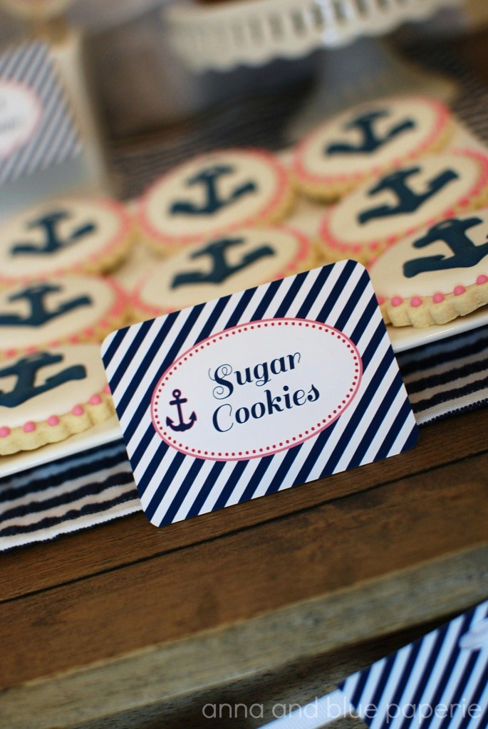 anna and blue paperie let's set sail cookie label logo