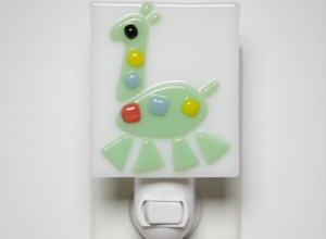 Green Giraffe Glass Nightlight