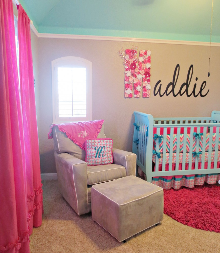 Maddie S Pink Aqua And Gray Chevron Nursery Project