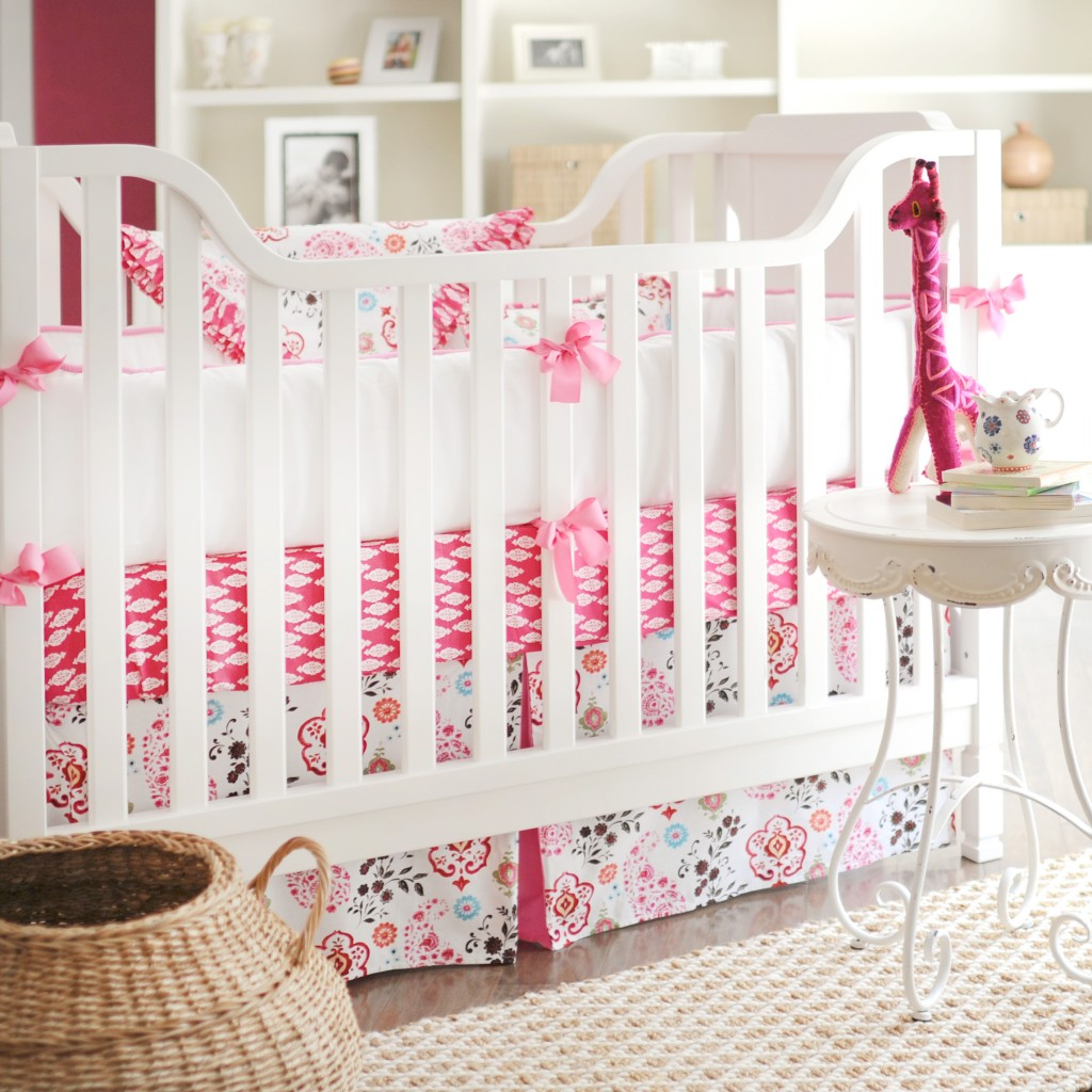 New Arrivals Pink Crib Set