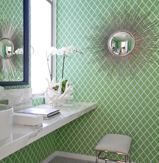 Green Diamond Print Accent Wall