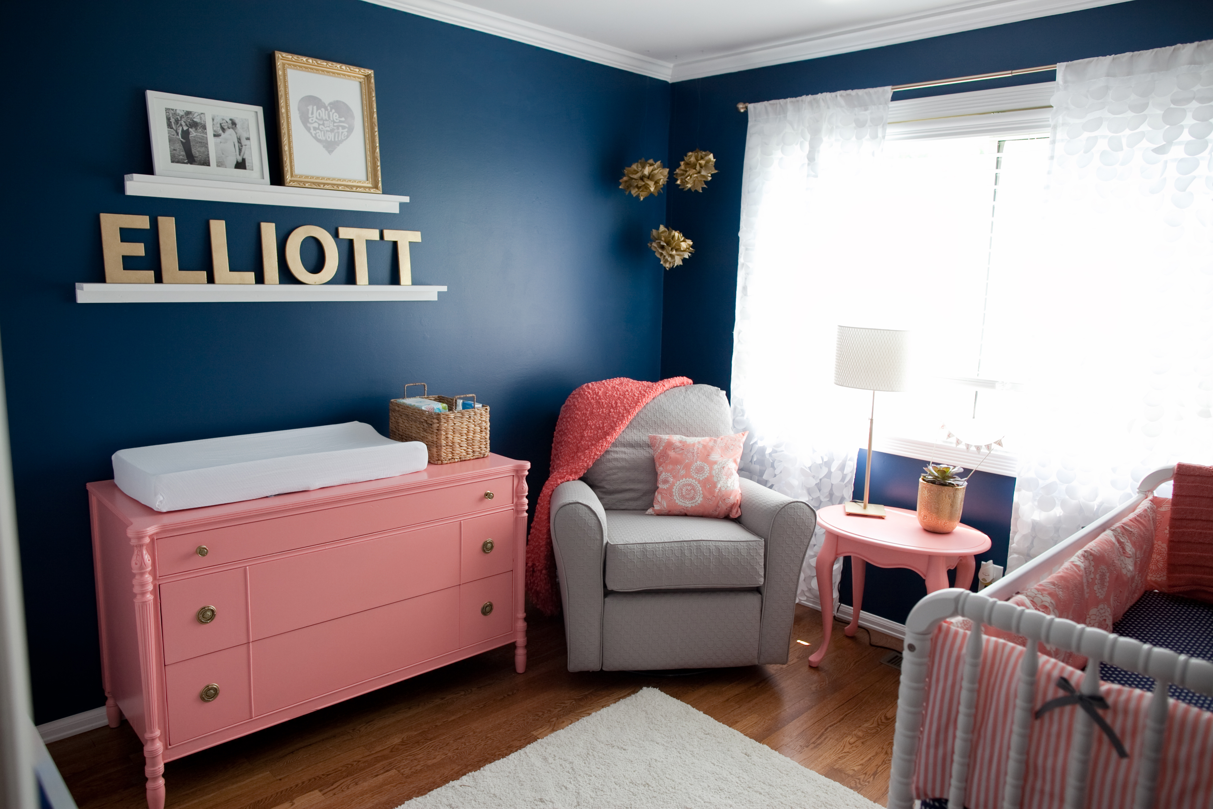 Elliott S Cobalt Coral Gold And Gray Nursery Project