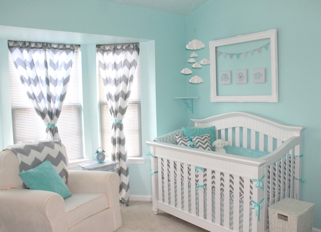 Gray and Aqua Nursery 1024 x 740