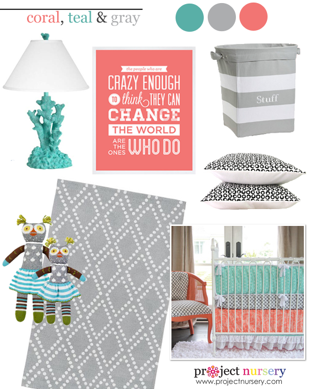 Coral, Teal And Gray In The Nursery