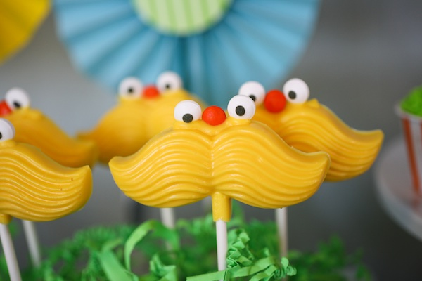 Lorax Theme Birthday Party - Mustache Lollipops