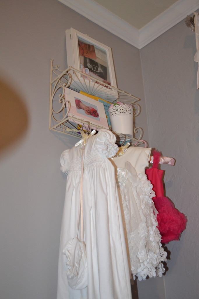 Gray and Light Pink Girl Nursery Hanging Clothes
