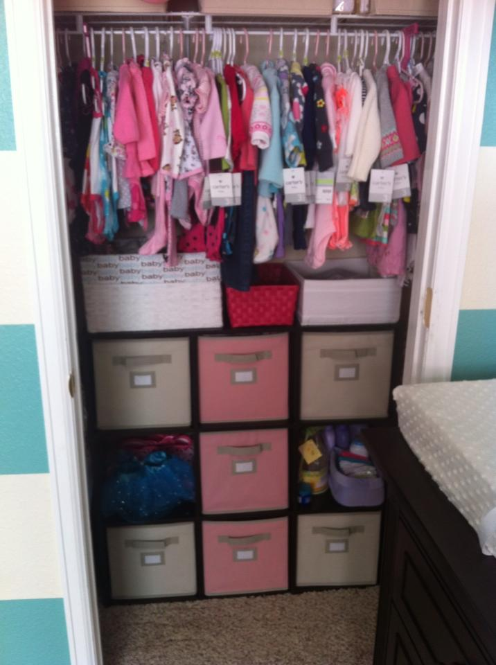 Turquoise Striped and Pink Nursery Storage Bins