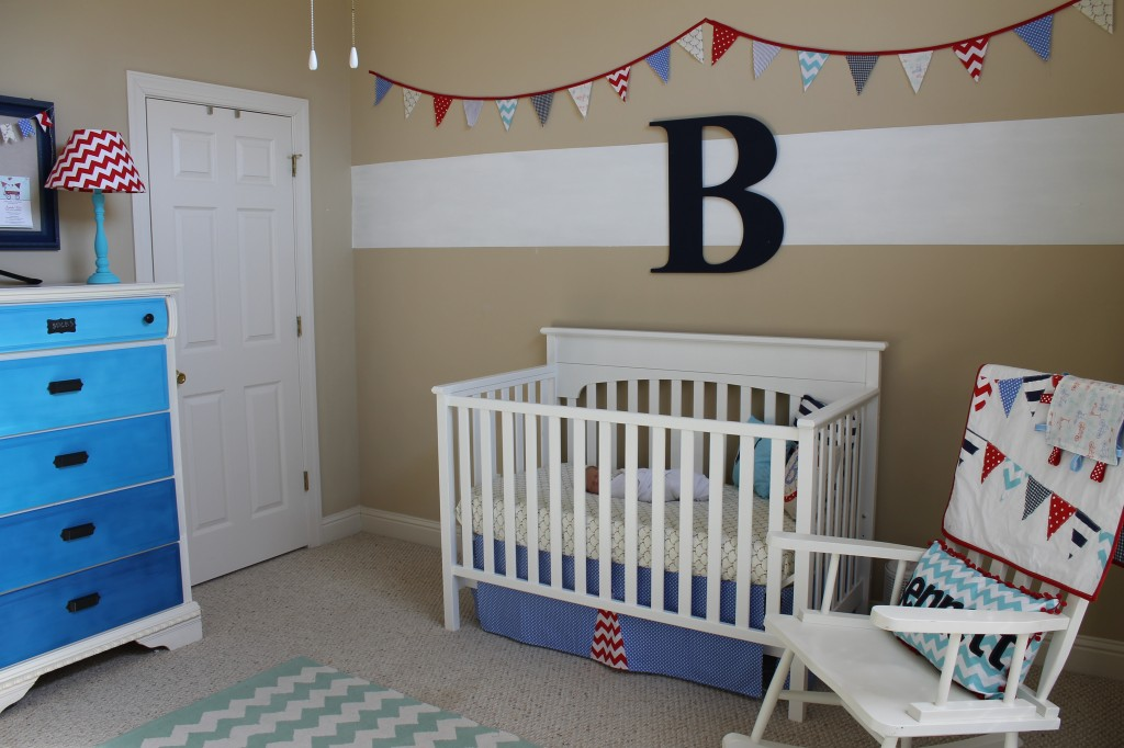 Red, White and Blue Nursery with blue ombre dresser
