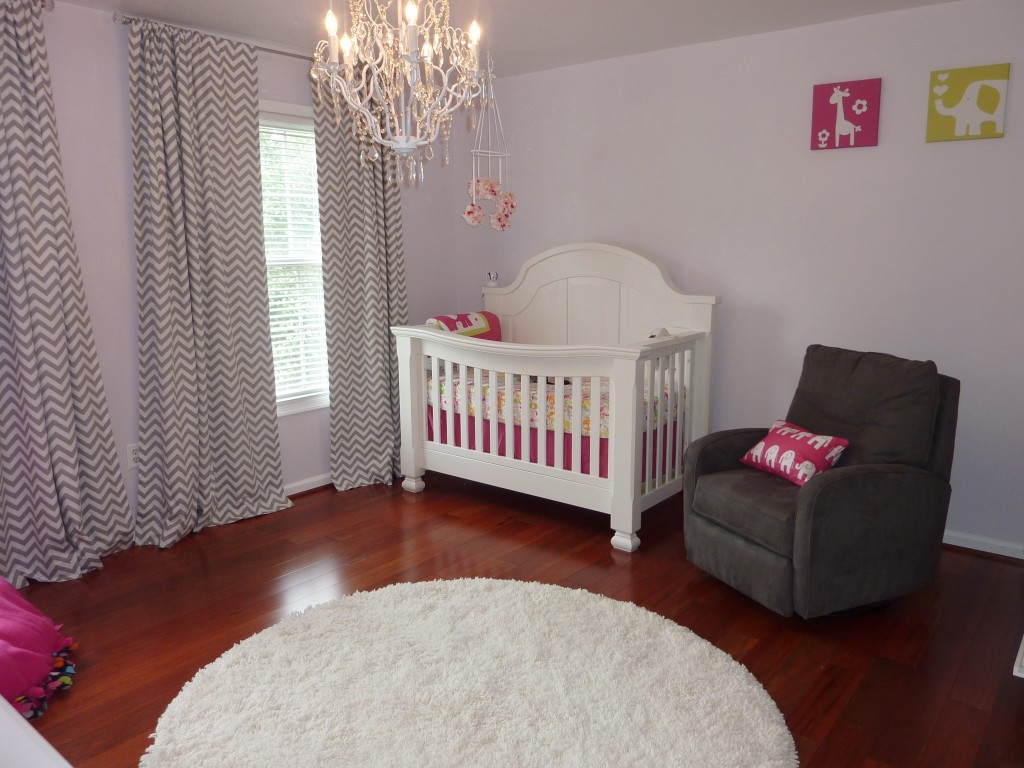 Hot Pink and Gray Elegant Girl Nursery Front Right