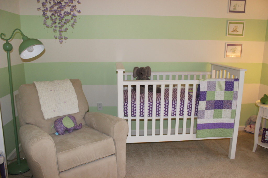 Green and Purple Girl Nursery Crib and Glider