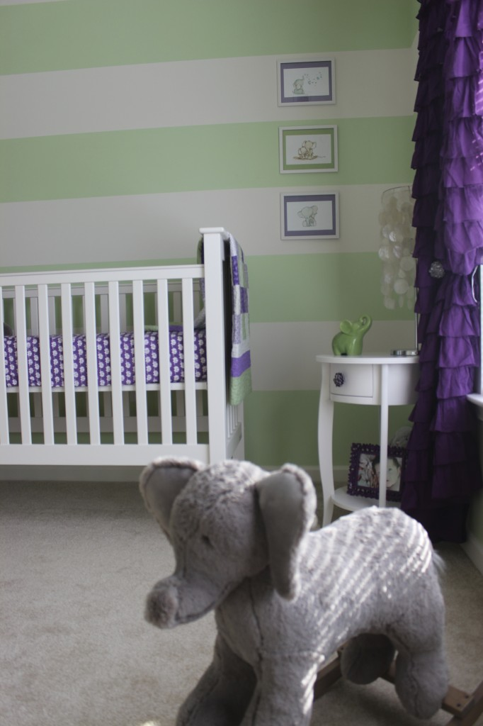 Green and Purple Girl Nursery Room
