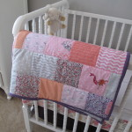 Gray and Pink Girl Room Crib View