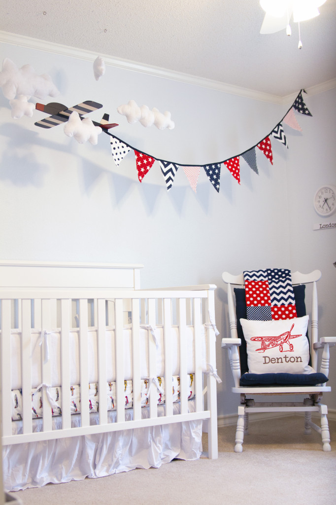 White Vintage Boy Airplane Nursery Corner View