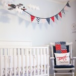 White Vintage Boy Airplane Nursery Room View