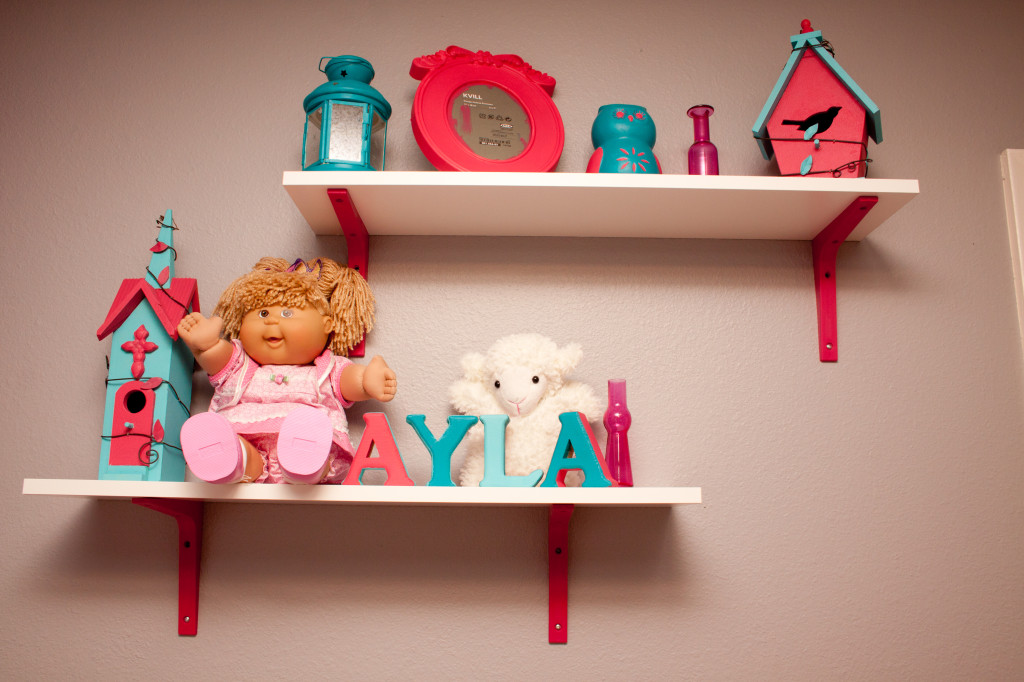 Girl Gray, Pink, and Turquoise Nursery Bookshelves