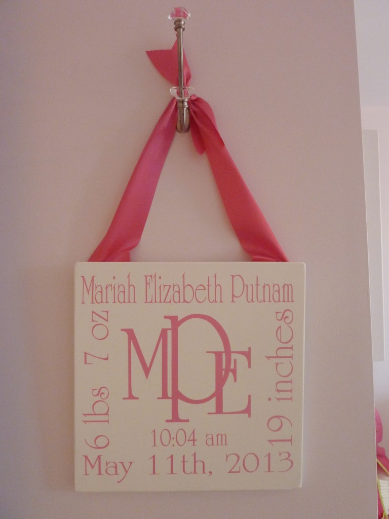 Hot Pink and Gray Elegant Girl Nursery Monogrammed Wall Art