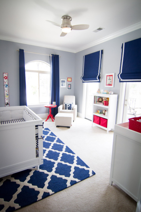 Boy Gray, Navy and Red Nursery Room View