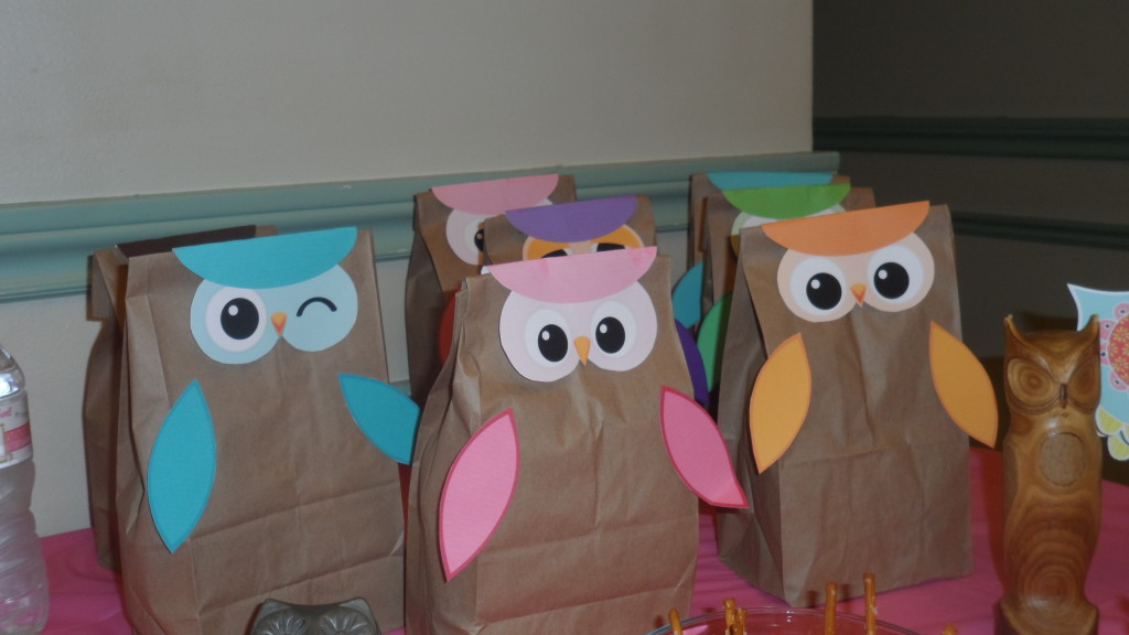Girl Owl First Birthday Party Paper Bags