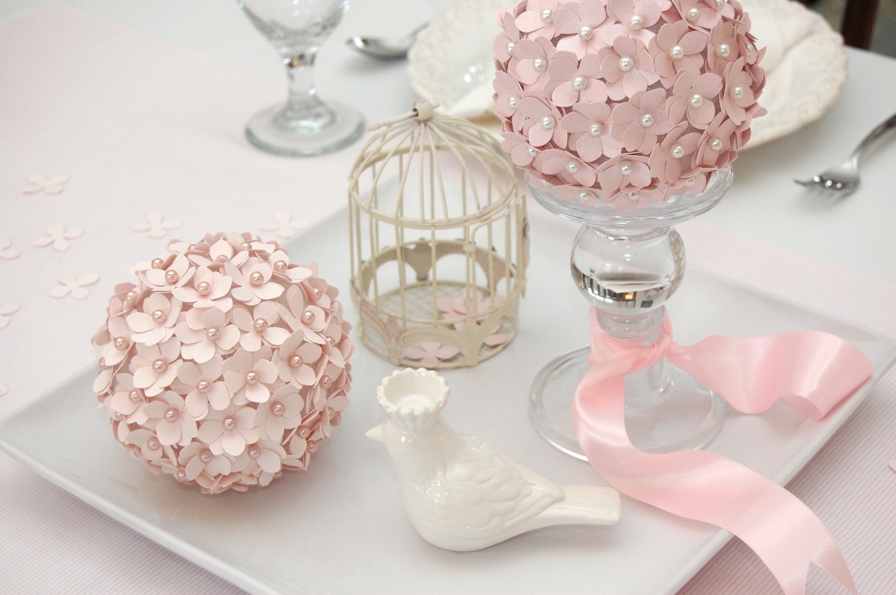 DIY Paper Flower Pomander Centerpiece