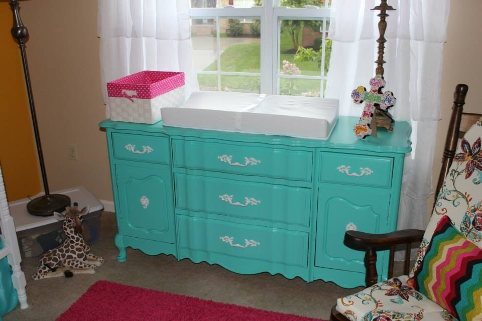 Colorful Girl Nursery Turquoise Dresser