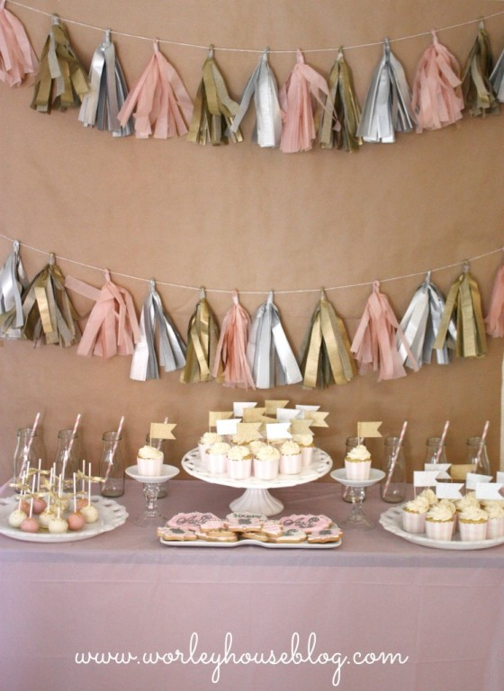 Ava's Pink and Gold Party Sweets Table