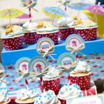 Vintage Beach Baby Shower Cupcakes