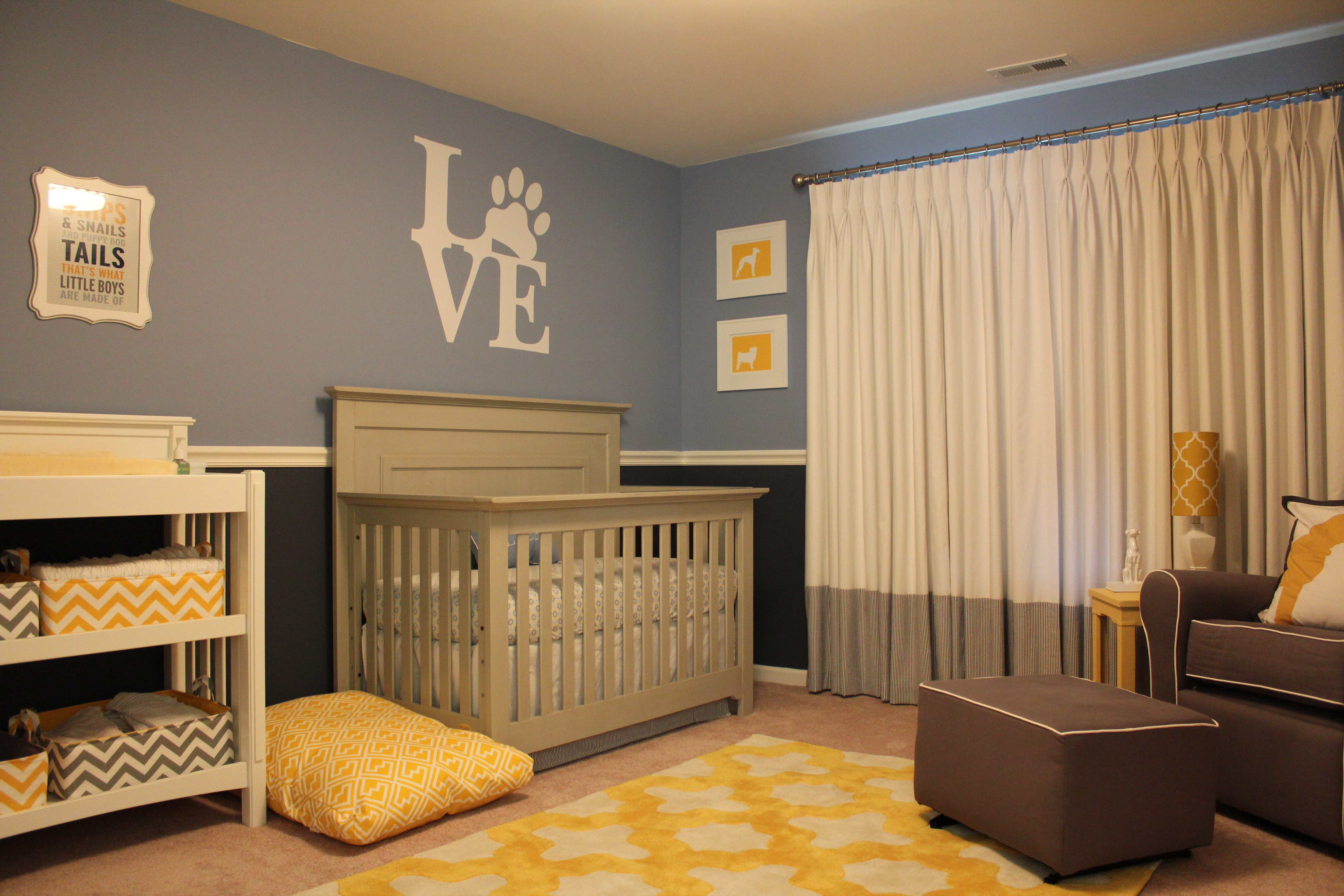 A sophisticated mixed pattern dog nursery project nursery for Dog room furniture