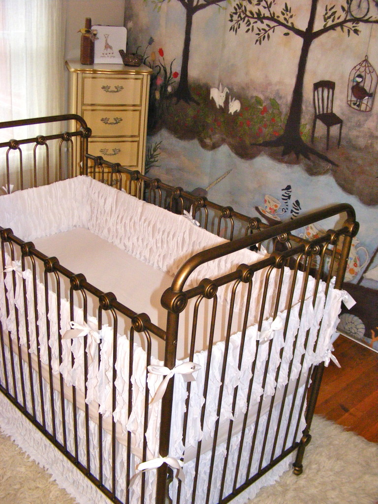 Girl Enchanted Forest Nursery Crib View