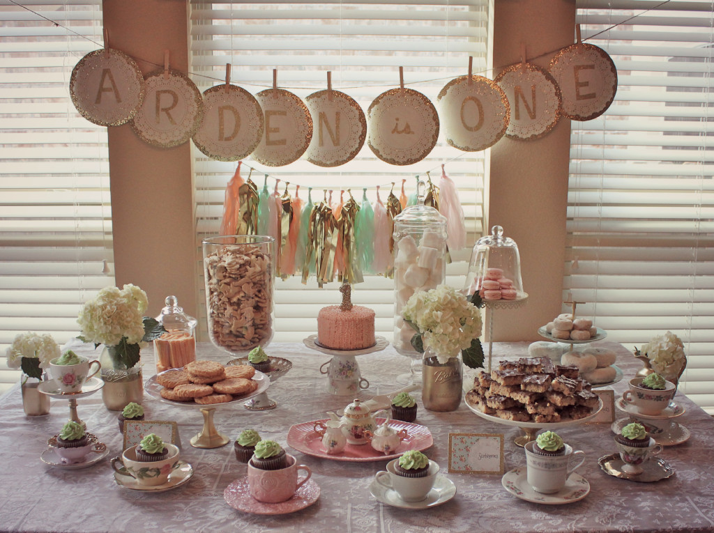 Tea Party 1st Birthday Party Sweets Table