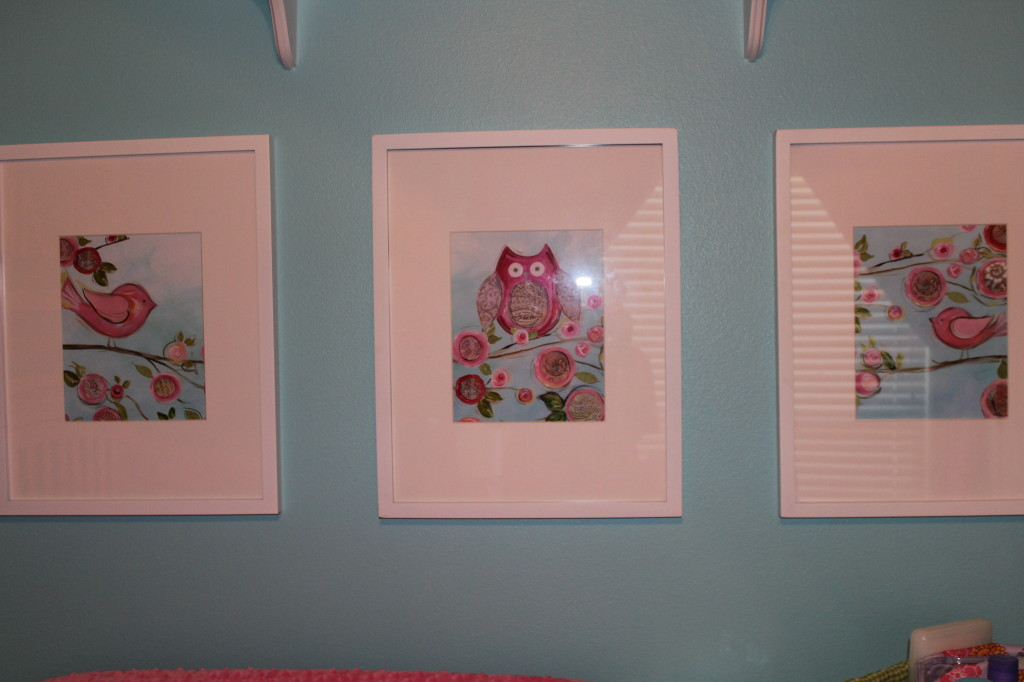 Girl Aqua and Pink Nursery Wall Art