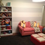Eclectic Economic Boy Nursery Couch and Bookcase