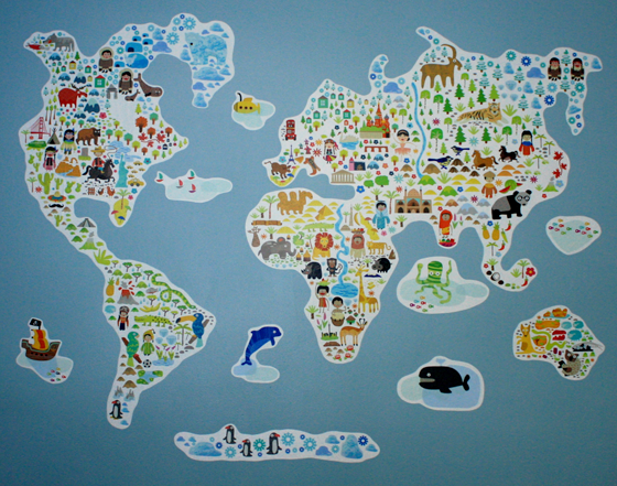 Wall Decal Of World Map At Home And Interior Design Ideas - Kids world map wall decal
